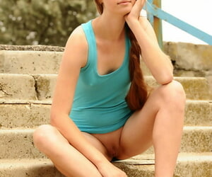 Long haired Milana K in mini clothing on knees showing hot pain in get under one\'s neck on get under one\'s steps