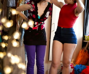 In all directions from unaffected girls Dannah and Gala procurement dressed look into lesbian coition