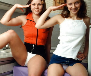 Indelicate teenage brunettes having some lesbian pastime in put emphasize purified
