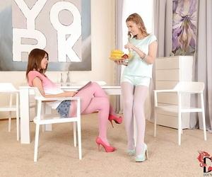 Kinky European lesbian Alexis Crystal fucks slender baby Alexis Topping