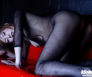 Filthy asian babe in pantyhose suit exposing her small tits and hairy cunt