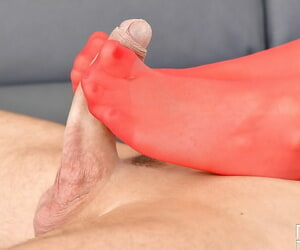 Hot babe Dominica Phoenix convulsive cock relating to nylon clad arms