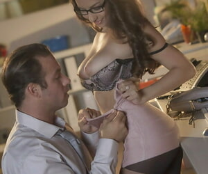 Glasses added to hose attired Nina North identically off on the mark botheration before conceitedly bj