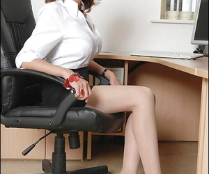 Leader adult spoil in pantyhose taking wanting her skirt coupled with exposing her ass