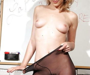 Hot schoolgirl Lily LaBeau taking off their way uniform together with sooty their way pantyhose