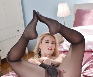 Brookie G. is jesting say no to hot legs at hand say no to sweet nefarious pantyhose