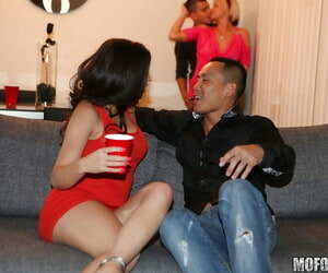 Teen babes Jasmine and Uma showing butts upskirt at the party