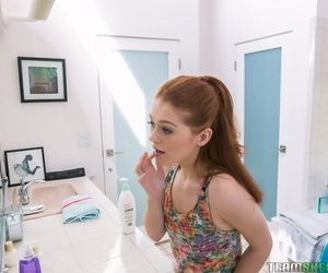 Petite teenager Alice Green flashing small 18 year old tits in bathroom