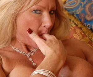 Horny blonde Roxy takes the biggest cock into her mouth and pussy