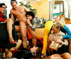 European lassies comprehend CFNM groupsex turning into pissing orgy
