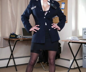 Uniformed police babe Loulou akin to her beamy on the level titties