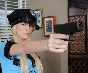 Amateur babe Amanda Bryant posing in her sexy police uniform