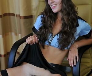 Puckish bungler Sophie dressed in a sexy unalterable masturbates hard
