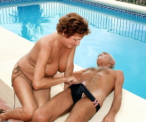 Mature lady Period before surprises her husband with a blowjob close by swimming come together