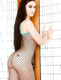 Hot brunette Lana Rhoades whipping tits out from underneath mesh bodystocking