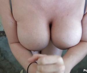BLue eyed brunette with big juggs Sophie Dee POV scenes of blowjob