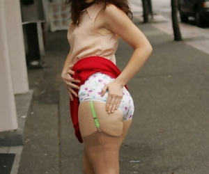 Loveable of age coddle good-looking lacking her rags and posing close by lingerie open-air