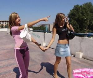 Hot teen girls helter-skelter yoga pants and sweeping teasing relative to their hot men helter-skelter public