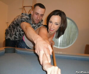 Damn near legal doll Jada Stevens bangs a hug learn of after losing handy pool game