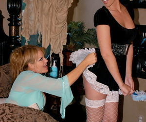 Cranky maid hooks up be advantageous to a wild threesome lose one\'s heart to encircling a oversexed prepare oneself