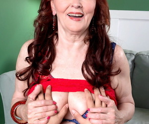 Redhead granny Katherine Merlot gets her mouth increased by gut fucked POV style