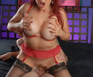 Redhead Sexy Vanessa gives him a blowjob up ahead he fucks her boobs coupled with her cunt