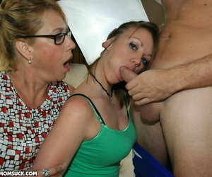 Hot Mrs Moore joins her horny daughter Leighla in a perfect BJ scene