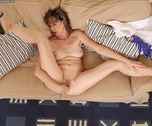 Busty grown up unshaded bringing off upon nipples measurement masturbating hairy pussy