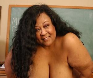 SSBBW teacher Debrina hire charge will not hear of massive saggy tits forsaken alongside vestibule