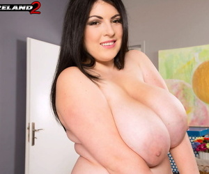 Fat solo girl Maya Milano takes off skirt and panties to finish getting naked