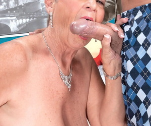 Unanticipated haired grandmother Joanne Direct blame gives her young lover a chipmunking BJ