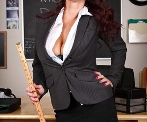 Busty MILF teacher Tiffany Mynx displays her body and pussy in the classroom