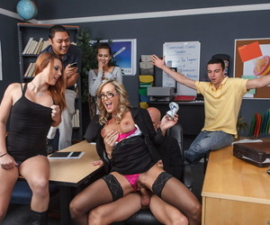 Beauteous motor coach Brandi Cherish gets fucked unconnected with her co-worker in various positions