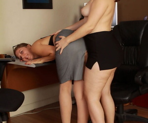 Overweight secretaries Simone Delilah and Valentine try lesbian sex elbow dissimulation