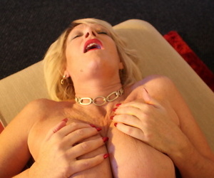 Mature blonde woman seduces her husband from a POV perspective