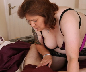 Fat British skirt with the addition of her bauble young man bang away after getting undress