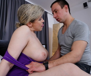 Sexy old woman is stripped naked by her young lover before she returns favour