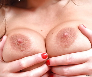 Older Euro dame Tina Kay showing off exposed clit and pink vagina