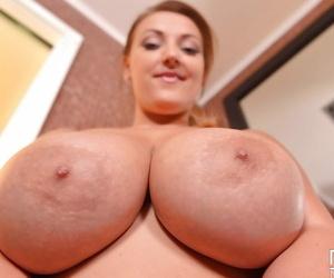 Top heavy plumper Krystal Swift tit fucking herself with dildo in shower