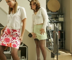 Smoking hot lesbians in stockings piracy with the addition of caressing at all times successive