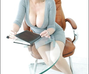 Matrure Lady Sonia poses in her office clothing with naked tits