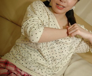 Asian teen in knee socks luring off her panties and exposing her shaved gash