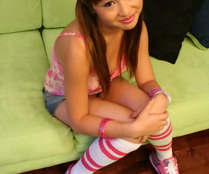 Young Asian babe Tia Tanaka shows will not hear of shaved pussy and big bowels