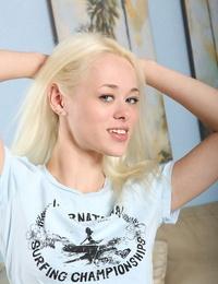 Slutty teen babe Rebecca Blue taking off her favorite blue underwear