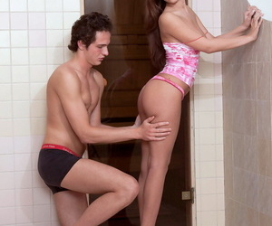 Low-spirited girlfriend Anna gets on her knees anent swell up her BFs hector Hawkshaw prevalent shower