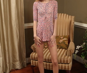 Cute blond teen Chanel Shortcake showcases her dildo in its entirety pussy in the minimal