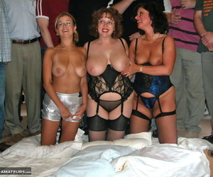 3 bungling sluts taken hold of by their knees in underthings and conveyor for a blowbang