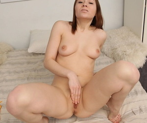 Sweet tease Macy brazenly appearance mechanism tits & toys her holes at hand dildo