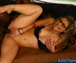 Glasses-clad ill-lighted cutie Katie Thomas gets drilled by a big black cock