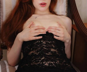Spectacular redhead Jia Lissa foodstuffs a pomegranate space fully posing thither the denuded